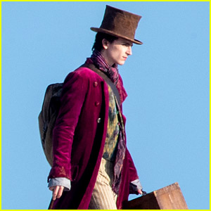Timothee Chalamet Spotted in Full 'Wonka' Costume While Filming on the Beach
